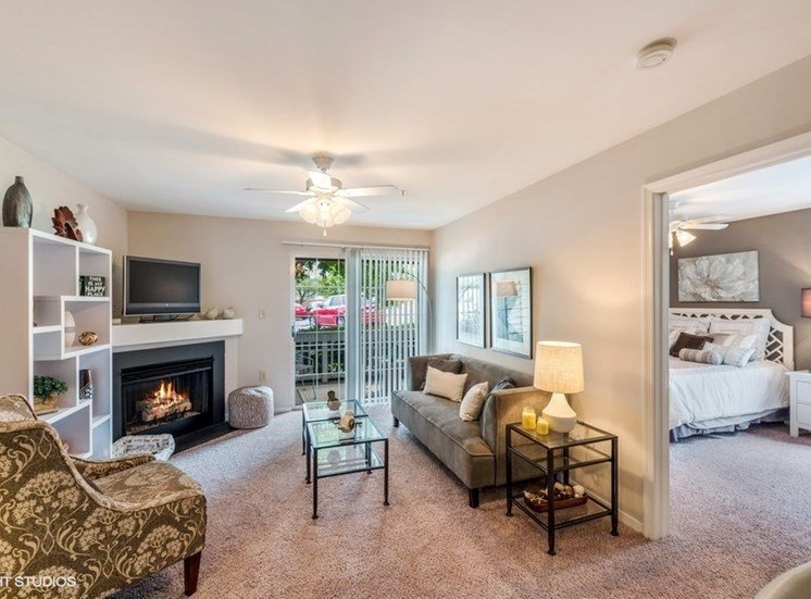 Bedroom View Off Living Room With TV at Brittany Commons Apartments, Spotsylvania, VA, 22553